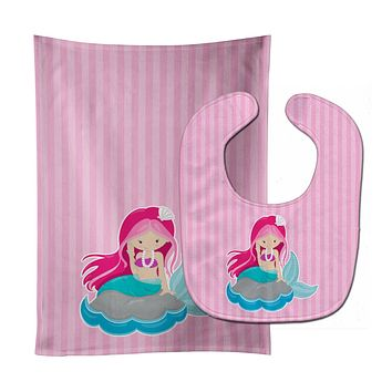 Beach Mermaid Pink Hair #3 Baby Bib & Burp Cloth BB8832STBU