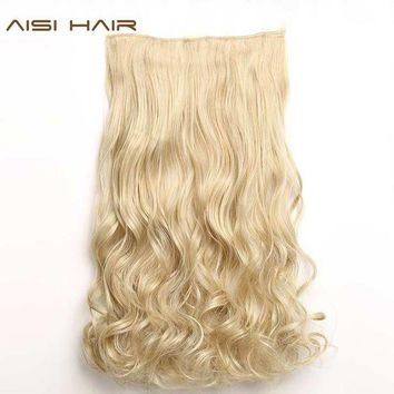 LMFON AISI HAIR 22' 17 Colors Long Wavy High Temperature Fiber Synthetic Clip in Hair Extensions for Women