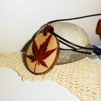 Japanese maple leaf pendant, Natural pine wood necklace, Pine tree pendant, 100% natural pine tree, Natural ornament, One-of-a-kind necklace