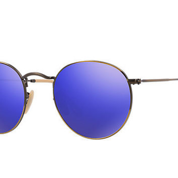 Ray Ban Round Sunglass Brushed Bronze Blue Mirrored RB 3447 167/68