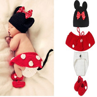 Newborn Mickey Baby Knit Crochet Knitting Flower Cap Cartoon baby Photography Props Hats Short Handmade = 1958167172