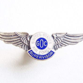 """Cold War GOC Wings Pin U.S. """"Supervisor"""" Badge Air Force USAF Civilian Ground Observer Corps Atomic Age Bomber Spotters Operation Skywatch"""