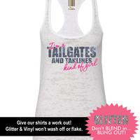I'm A Tailgates and Tanlines Kind of Girl Tank // Mud Tank // Country Tank // Southern Clothing (65-NL33) Neon Pink Vinyl - Silver Glitter