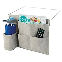 mDesign Bedside Caddy Storage Organizer for Phone, Tablet, Magazines, Water Bottle, Remote Control - 4 Pockets, Light Gray