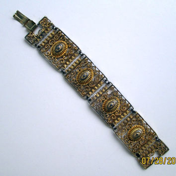 Old Retro Art Deco Openwork Wide Panel Bracelet Vintage Jewelry