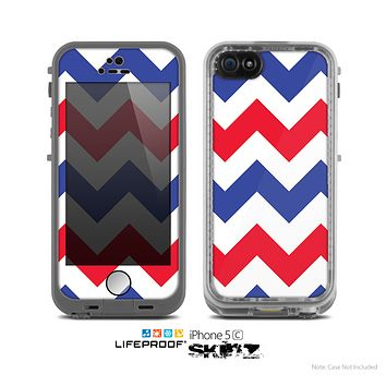 The Patriotic Chevron Pattern Skin for the Apple iPhone 5c LifeProof Case