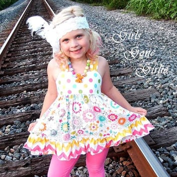 Toddler ruffle halter top , back to school , swing top , girls boutique top , summer top , yellow and pink , custom size 2T to girls size 7