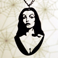 Vampira homage horror necklace in black stainless steel - psychobilly pin up jewelry