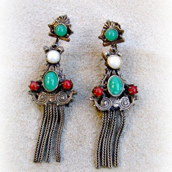 Fringe Dangle Earrings, Bohemian Style, Victorian Revival, Bronze, Jeweled Dangles, Faux Pearl, Jade, Carnelian, Screw Backs