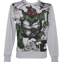 Men's Grey Marl Teenage Mutant Ninja Turtles Raphael Burst Sweater : TruffleShuffle.com