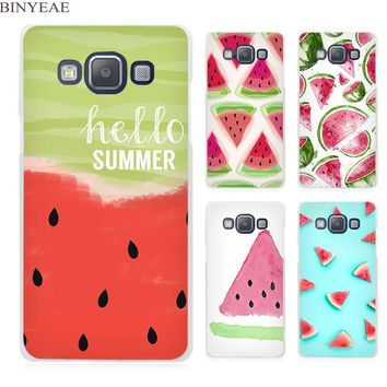 BINYEAE Watermelon Watercolor hello summer Clear Transparent Cell Phone Case Cover for Samsung Galaxy A3 A5 A7 A8 A9 2016 2017