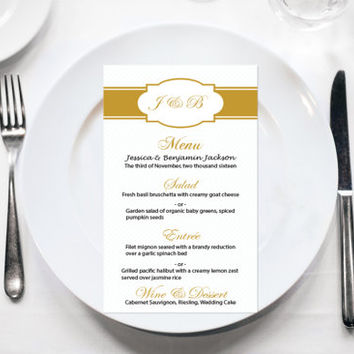 Wedding Menu Card Template - Editable PDF - 4x7 Gold Monogram Printable Menu Card - Instant Download - Adobe Reader Format - DIY You Print