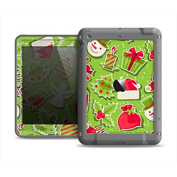 The Red and Green Christmas Icons Apple iPad Air LifeProof Fre Case Skin Set