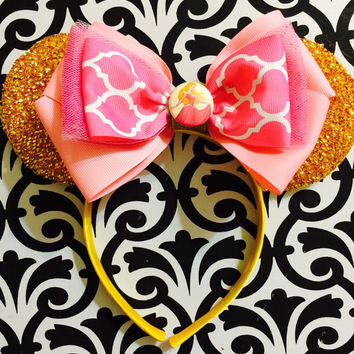 Sleeping Beauty Princess Aurora Golden Sparkle Minnie Mouse inspired Headband Ears