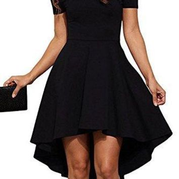 Womens Off-Shoulder Short-Sleeves High-Low Skater Dress
