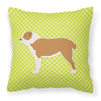 Central Asian Shepherd Dog Checkerboard Green Fabric Decorative Pillow BB3828PW1818