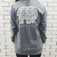 Gray Elephant and Letter Print Long Sleeve T-Shirt