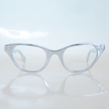 ad3a7266082 Vintage 1960s Tura Eyeglasses Glasses Cat Eye Aluminum Silver Chrome  Metallic Cateye 60s Sixties Mid Century