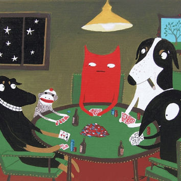 Funny Dogs Playing Poker Print - including Cat, Crow and Sock Monkey - Whimsical Pop Art in Green
