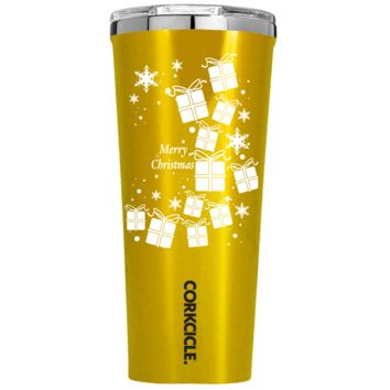 Corkcicle 24 oz White Christmas Presents  on Gold Translucent Tumbler