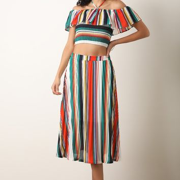 Striped Halter Women, Crop Tops Midi Pleated Skirts