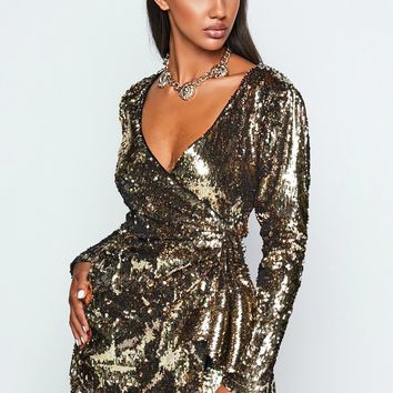Tavern on the Green Sequin Mini Dress Gold