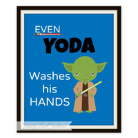 "Star Wars Bathroom Prints - ""Even YODA Washed his Hands"" Star Wars Print  // Pop Art Print // Star Wars Decor"