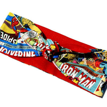Vintage Inspired Head Scarf, Comic Book Covers, Reversible, Rockabilly, Retro