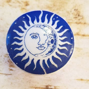 Sun and Moon Knob Drawer Pulls, Blue and White Birch Wood Knobs, Handmade Cabinet knobs, Sun Face Dresser Knobs, Made to Order Style 4