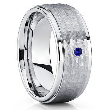 Blue Sapphire Ring - Tungsten Wedding Band - Men's Tungsten - 9mm