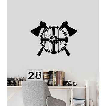Vinyl Wall Decal Viking Shield Axes Warrior Man Cave Interior Stickers Mural (ig5961)