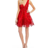 Dear Moon Embellished Lace Fit-And-Flare Dress | Dillards