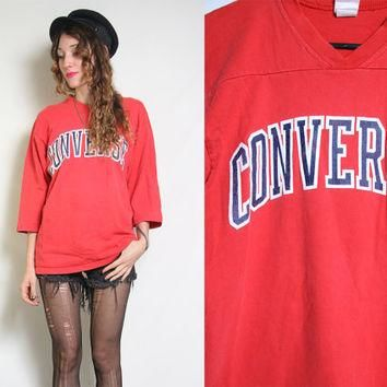 80s CONVERSE Sweater - Vintage Red Jersey - Sweatshirt Crewneck - Sports Sporty - Over