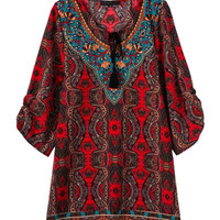 Multicolor Tribe Pattern Tie Front Half Sleeve Shift Dress