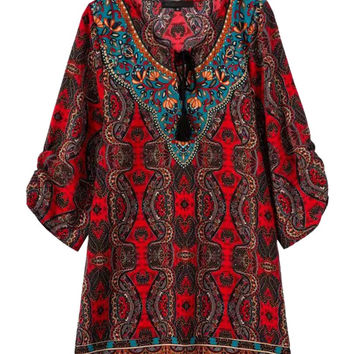 Red Paisley Pattern Tasseled Tie Front Summer Dress