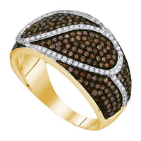Cognac Diamond Fashion Ring in 10k Gold 1.1 ctw