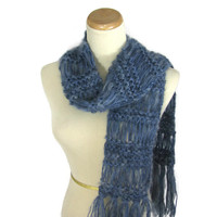 Moody Blue Scarf, Hand Knit Scarf, Winter Scarf,  Dusty Blue Denim, Knit Scarf, Gift For Her