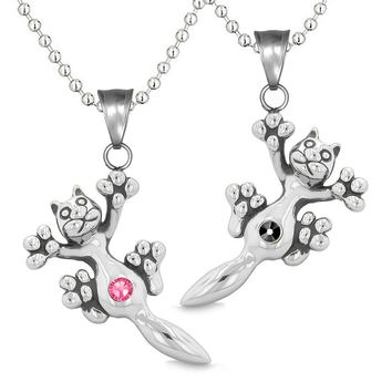 Amulets Cute Kitty Cat Love Couples or Best Friends Set Black Pink Sparkling Crystals Necklaces