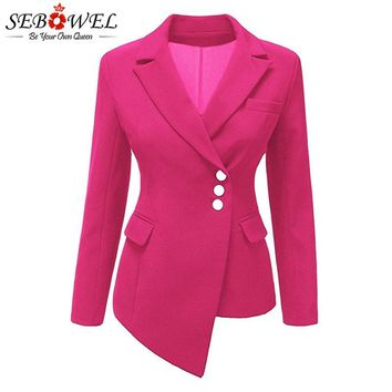 SEBOWEL 2018 Autumn New Women's Long-sleeved Blazers Office Ladies Asymmetric Lapel Blazer Female Irregular Hem Work Jacket Coat