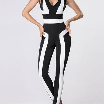 Casual Deep V-Neck Color Block Jumpsuit