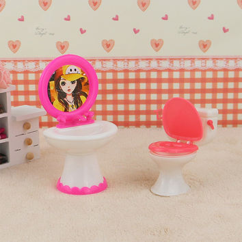 2pcs set 1 Closestool +1 Washbasin Toilet Wash Devices For Barbie And Kelly Doll's House Furniture Doll Accessories.
