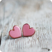 Post earrings  Pale pink Hearts by Dariami on Etsy