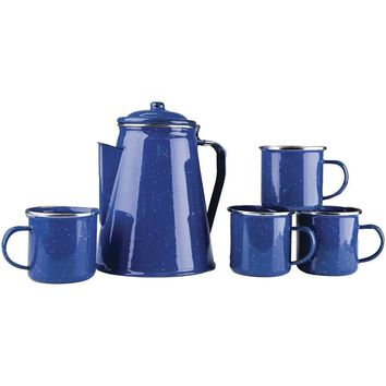 Stansport Enamel Percolator Coffee Pot & 4 Mug Set STN1123003