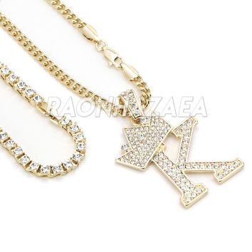 Iced Out Crown K Initial Pendant Necklace Set
