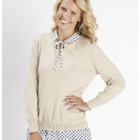 Knitted Tunic Sweater With Spot Collar