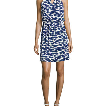 Women's Woven-Chain Neckline Printed Dress, Blueprint Multi - Laundry by Shelli Segal - Blueprint multi