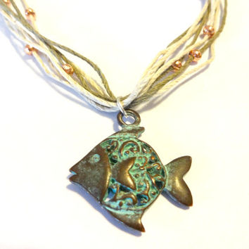 Unique Fish Charm Necklace, Ocean Inspired Jewelry, Multi Strand Hemp Necklace, Cool Jewelry, Mykonos Jewelry
