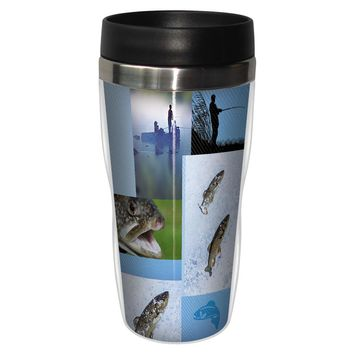 Trout Collage Travel Mug - Premium 16 oz Stainless Lined w/ No Spill Lid