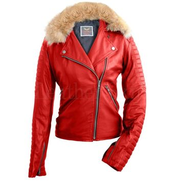 Women Fox Fur Red Leather Jacket