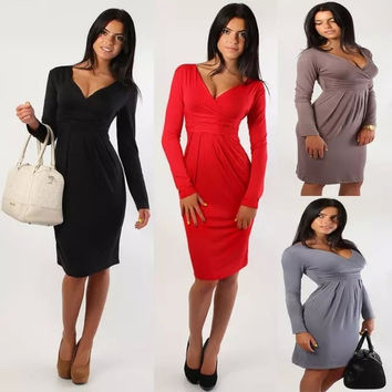 Women Elegant Celebrity V-neck Long Sleeve Knee-length Casual Stretchy Soft Maternity Bodycon Sheath Dresses = 1956813508
